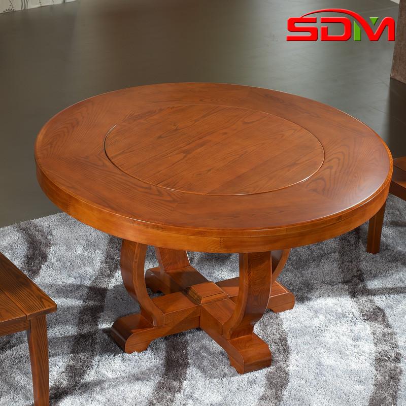 莎蒂曼图片色组装框架结构水曲柳艺术圆形现代中式餐桌