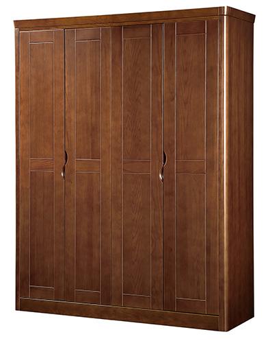 四门成人_翰唐轩 板栗色实木皮饰面橡木储藏平拉门成人现代中式 8101四门衣柜