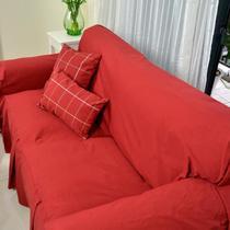 布纯色双人座沙发田园 沙发罩
