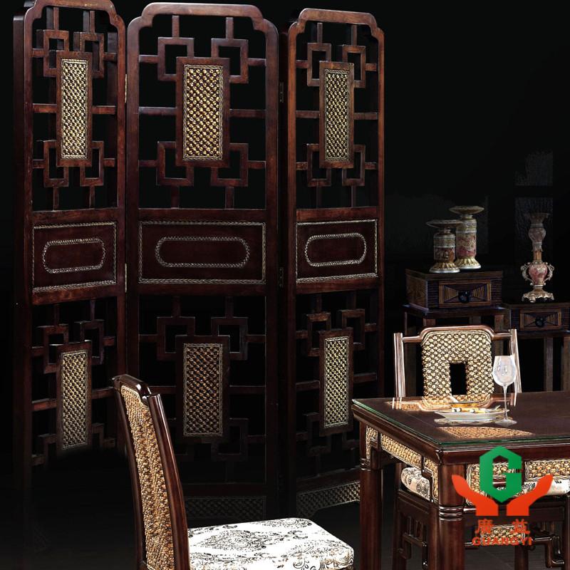 广益 橡木油漆工艺竹藤工艺喷漆明清古典 屏风