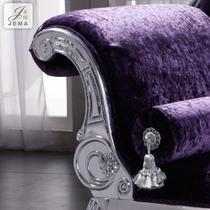 左扶手右扶手拉钻面料工艺木质工艺雕刻橡木复合面料海绵欧式 贵妃椅