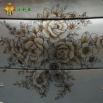 浮雕玄关柜实木皮饰面框架结构橡木拆装抽象图案新古典 装饰柜