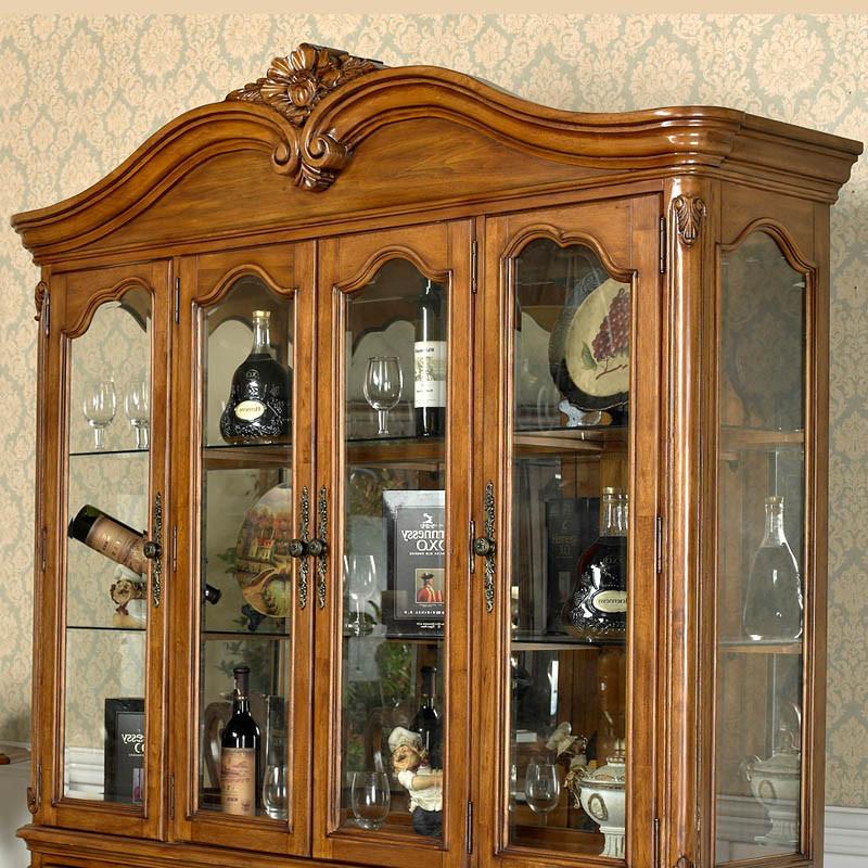 美莱咖 多功能酒柜玻璃框架结构橡木储藏艺术美式乡村