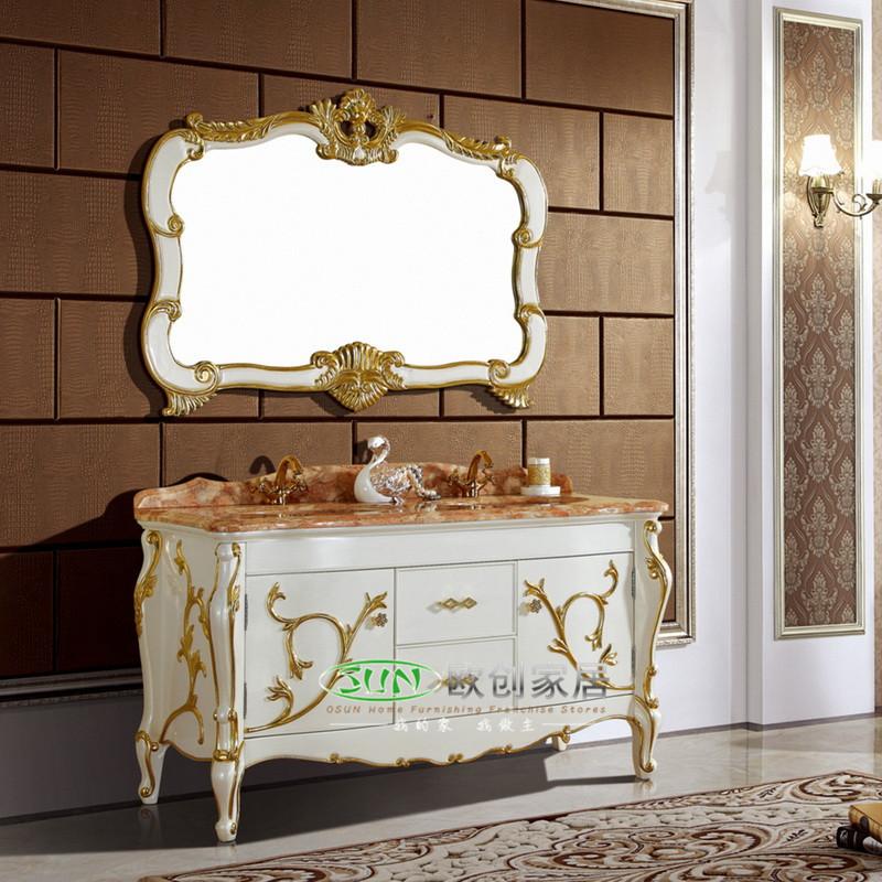 福森 橡胶木大理石台面e0级欧式 c02洗手盆