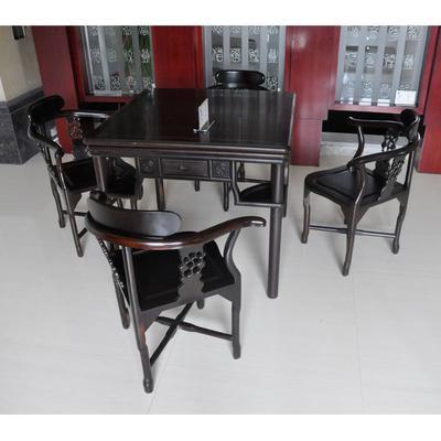 吾家王府 黑色非电动实木皮饰面支架结构乌木移动明清古典 麻将桌