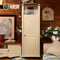 楸木色+磨砂珍珠白门厅酒柜装饰柜框架结构储藏美式乡村 装饰柜