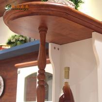 奶酪白+楸木色框架结构橡木拆装抽象图案地中海 装饰柜