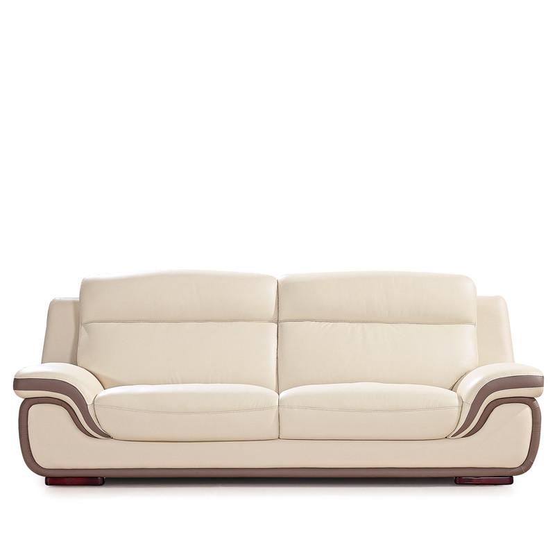 喜百利 卡其布色接触面真皮u形橡木多功能海绵简约现代 沙发