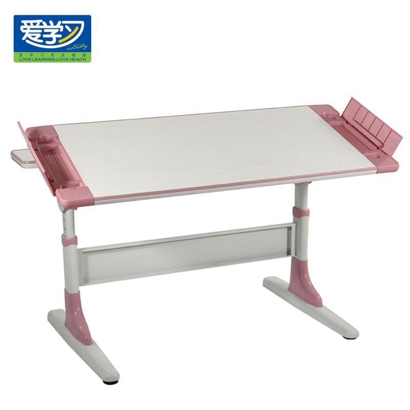 爱学习 粉加白蓝加白人造板电脑桌三聚氰胺板支架结构
