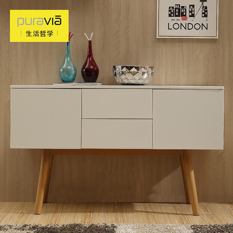 生活哲学 白色木框架结构水曲柳储藏简约现代 餐边柜
