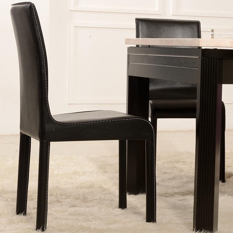 吉祥树 黑色金属不锈钢实木皮饰面成人简约现代 餐椅