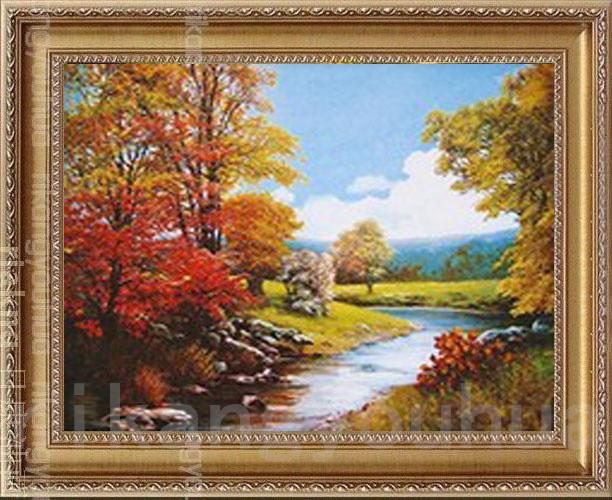rikang 如图平面有框单幅风景手绘 65655油画