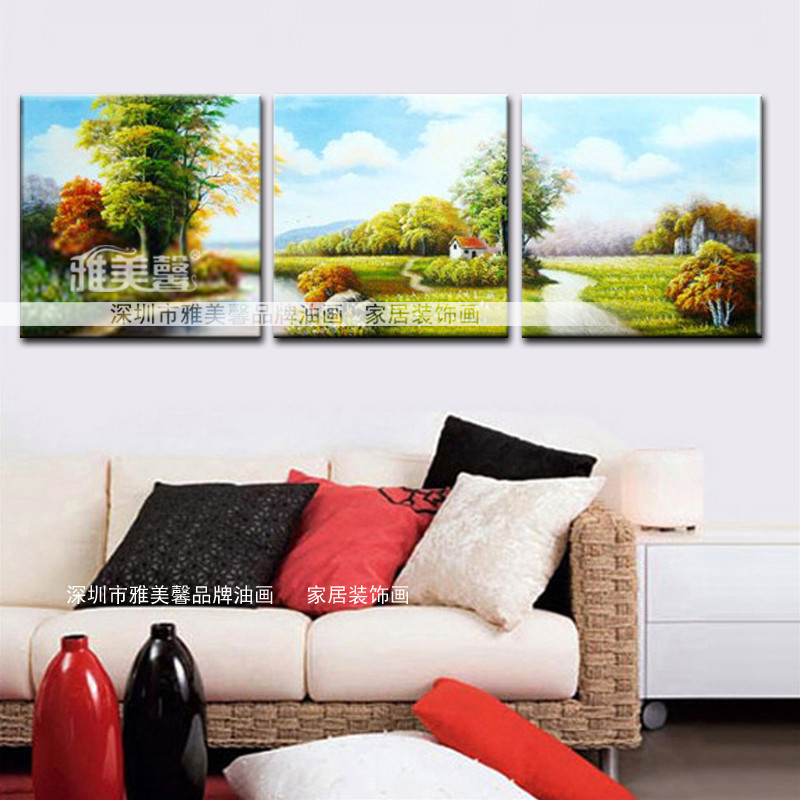 雅美馨 手工油画立体无框有框组合风景手绘 油画