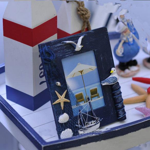 奥雅迪佳 蓝白色蓝色白色木相框长方形 相框