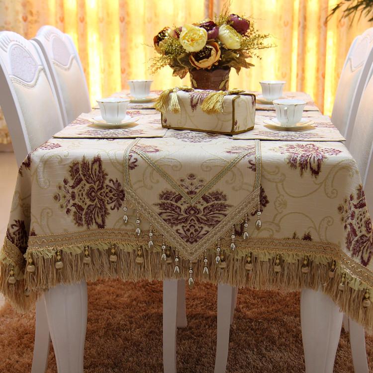 满缘 浅米紫红吉祥花布植物花卉欧式 桌布