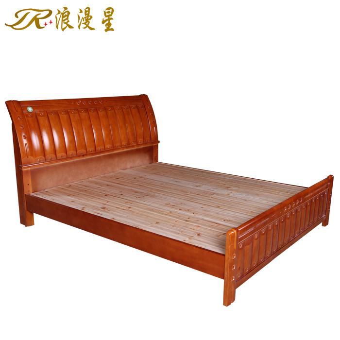 橡胶木组装式架子床简约现代雕刻