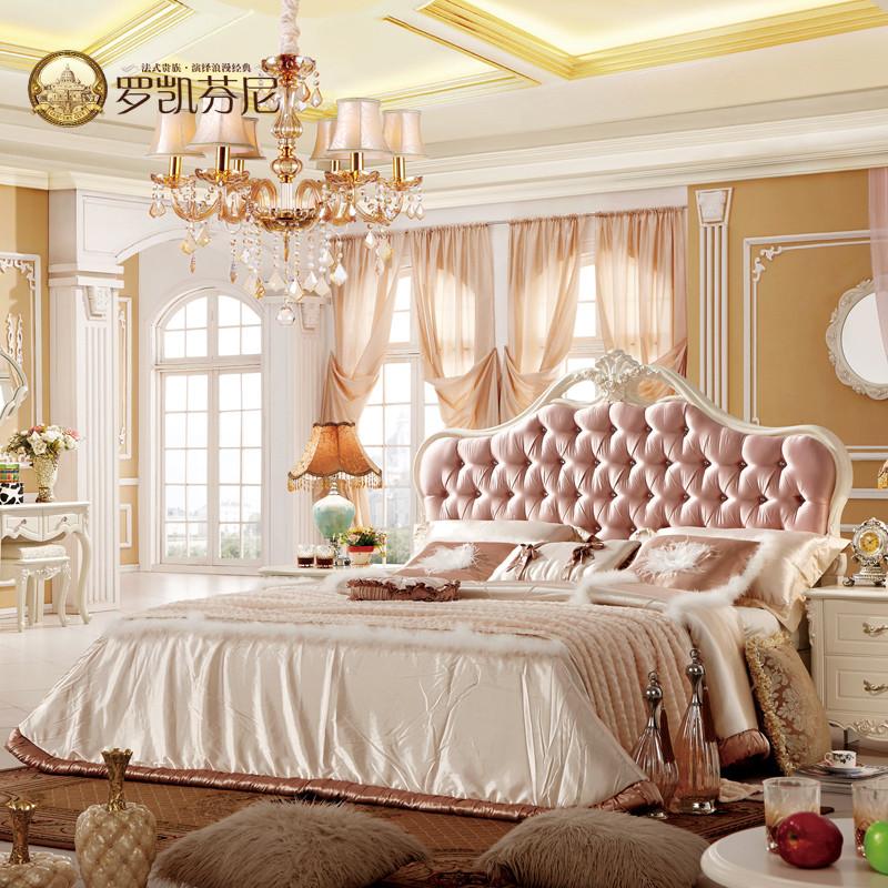罗凯芬尼 原版木水钻组装式架子床混纺方形欧式 床