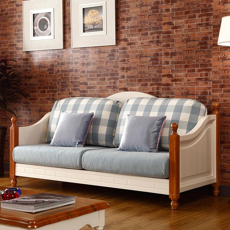 格杰 三位沙发二位沙发雕刻橡木多功能海绵美式乡村 沙发