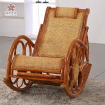 高档藤席面摇椅植物藤曲木结构伸缩抽象图案成人复古怀旧/老家具 藤椅