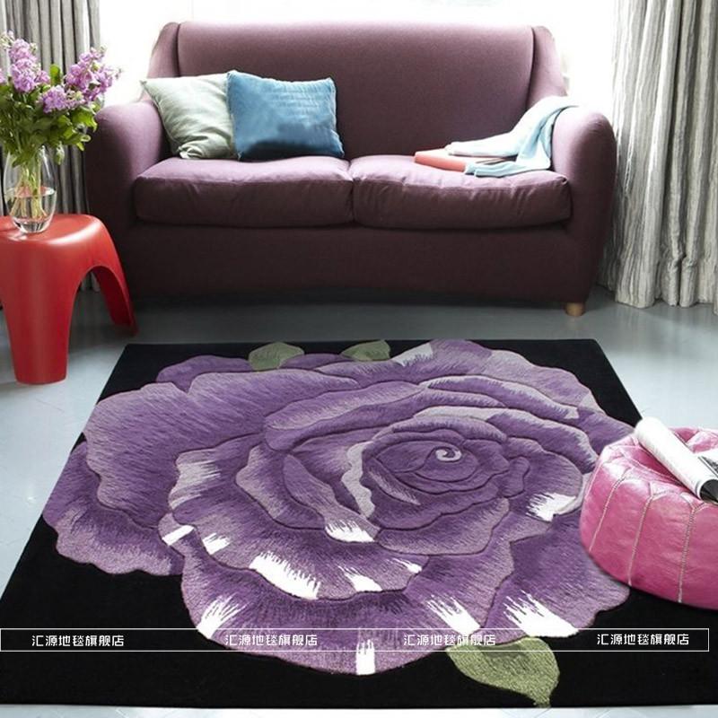 汇源地毯 紫罗兰羊毛简约现代植物花卉日韩手工织造 地毯