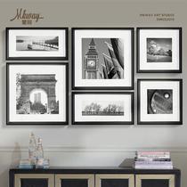 土豪金亚光黑平面一套6幅有框独立风景喷绘 装饰画