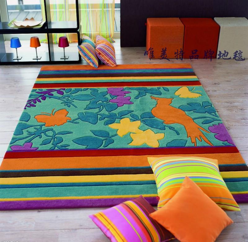 唯美特图片色化纤美式乡村腈纶风景长方形田园手工织造地毯