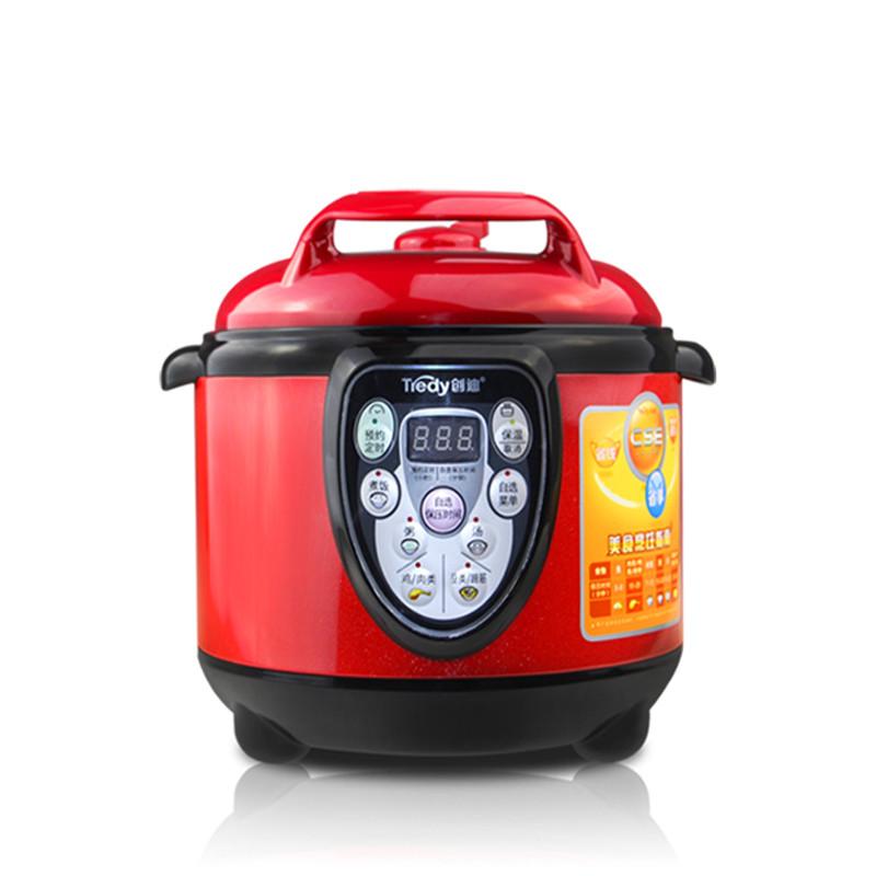 创迪 酒红色煲蒸煮炖焖预约定时微电脑式 电压力锅