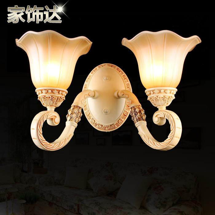 家饰达 玻璃树脂欧式镂空雕花白炽灯节能灯led 壁灯