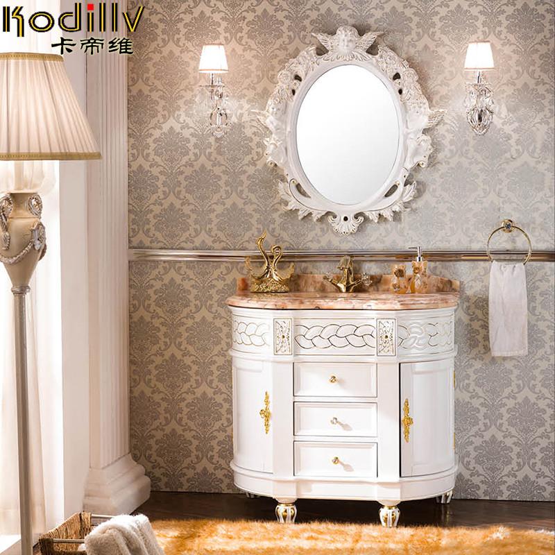 卡帝维 橡胶木含带配套面盆大理石台面e0级欧式 kdw-548浴室柜