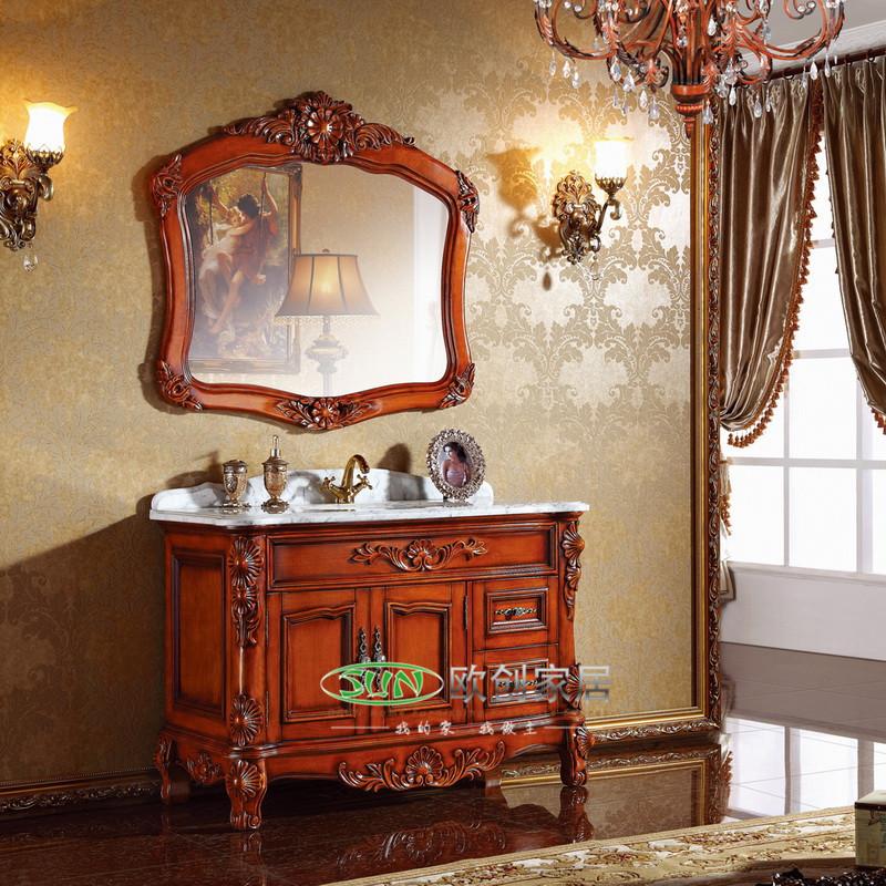 福森 橡胶木大理石台面e0级欧式 c31浴室柜