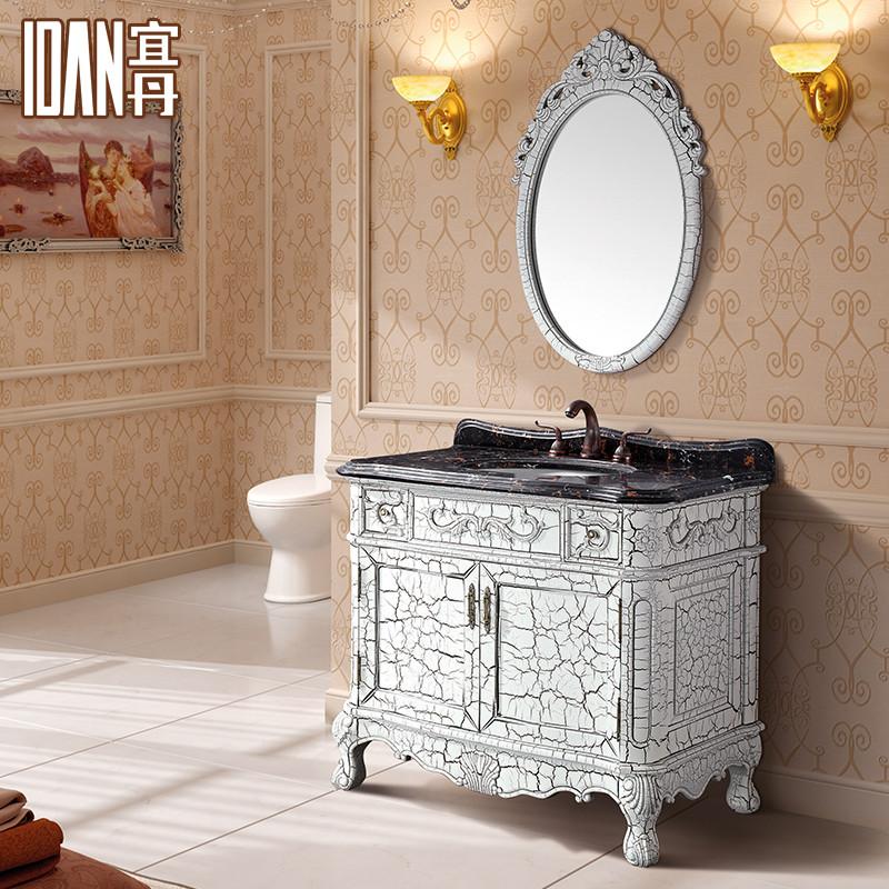 宜丹 橡胶木大理石台面e0级欧式 wx820382洗手盆