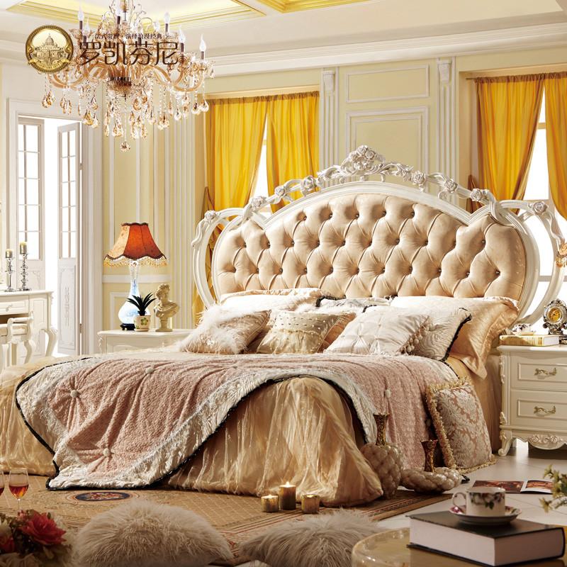 罗凯芬尼 进口黄牛皮组装式架子床欧式雕刻 床