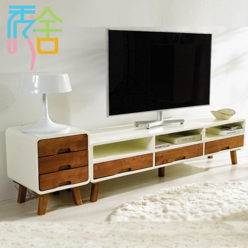 秀舍 电视柜电视柜三件套烤漆曲木结构杨木储藏抽象图案成人简约现代