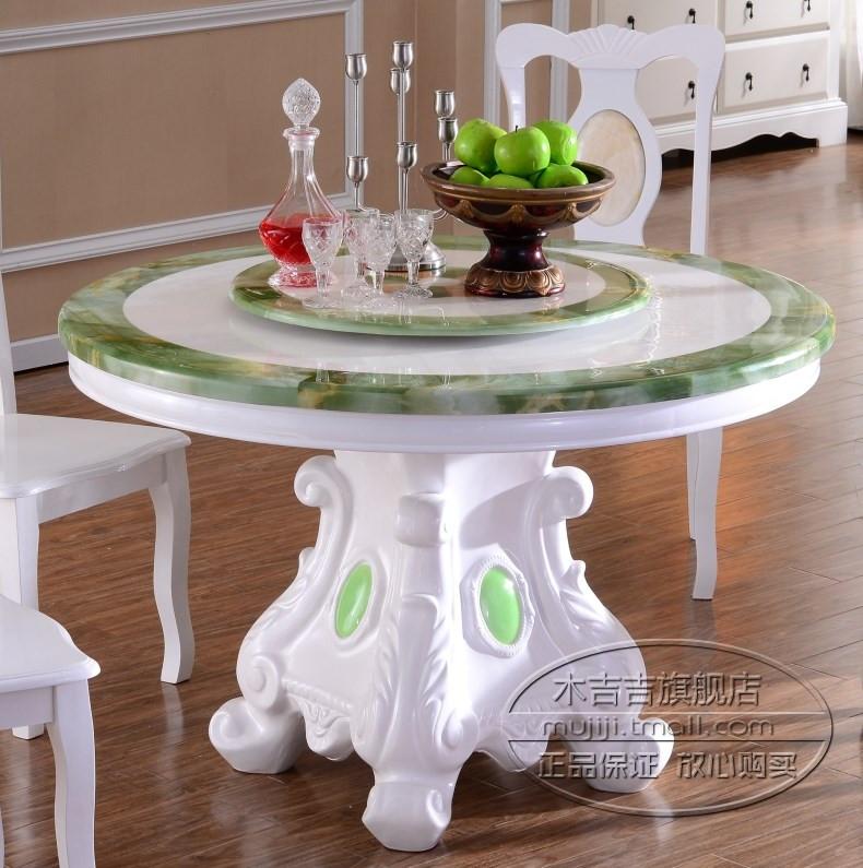 木吉吉 旋转大理石圆形欧式 餐桌