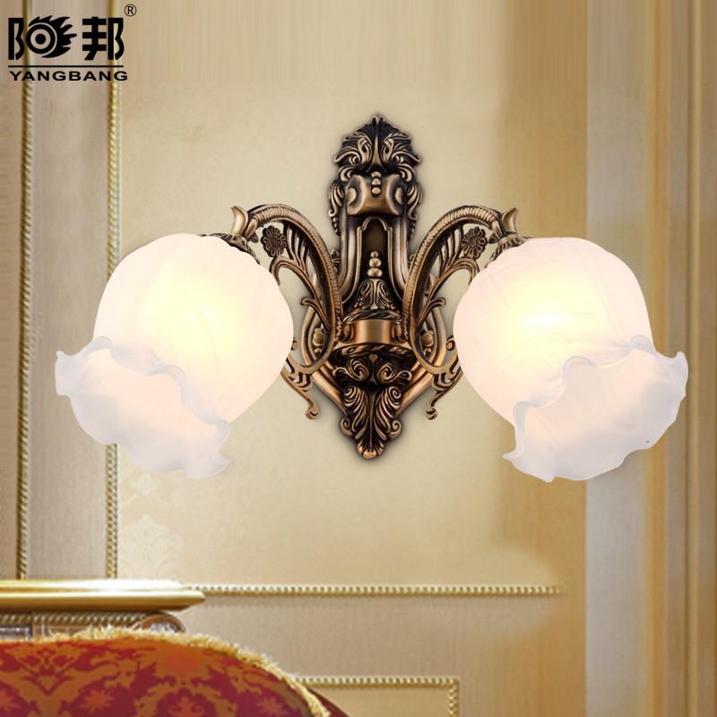 阳邦 单头玻璃铜欧式镂空雕花白炽灯节能灯 壁灯