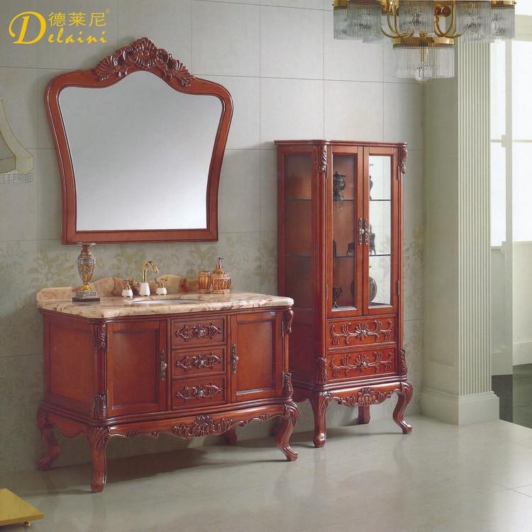 德莱尼橡胶木含带配套面盆大理石台面欧式-浴室柜