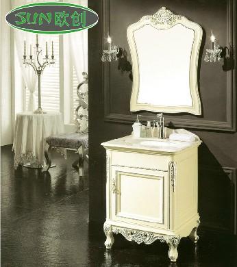 福森 橡胶木大理石台面e0级欧式 y81洗手盆