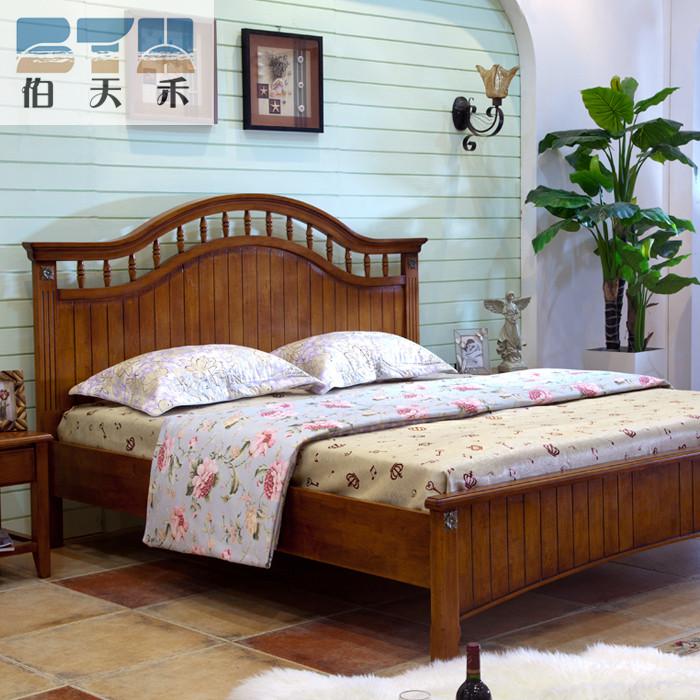 木色海天一蓝楸木组装式架子床美式乡村雕刻