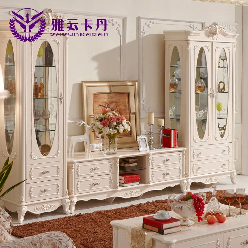 雅云卡丹 人造板框架结构橡木储藏植物花卉成人欧式 电视柜