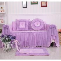 紫色粉色毛绒纯色单人座沙发韩式 沙发罩