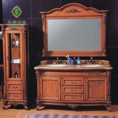 美琦 橡木含带配套面盆大理石台面e0级欧式 366浴室柜