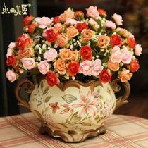落地花卉摆放花卉玫瑰绢花花卉+花瓶 仿真植物仿真花