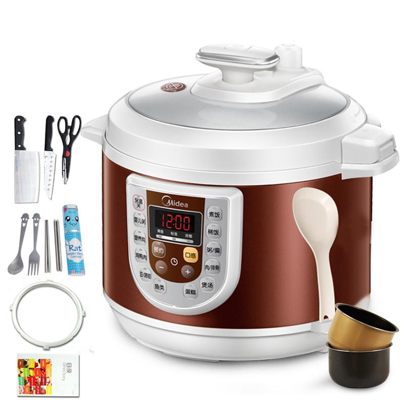 美的 褐色煲煮炖焖预约定时全国联保微电脑式 电压力锅