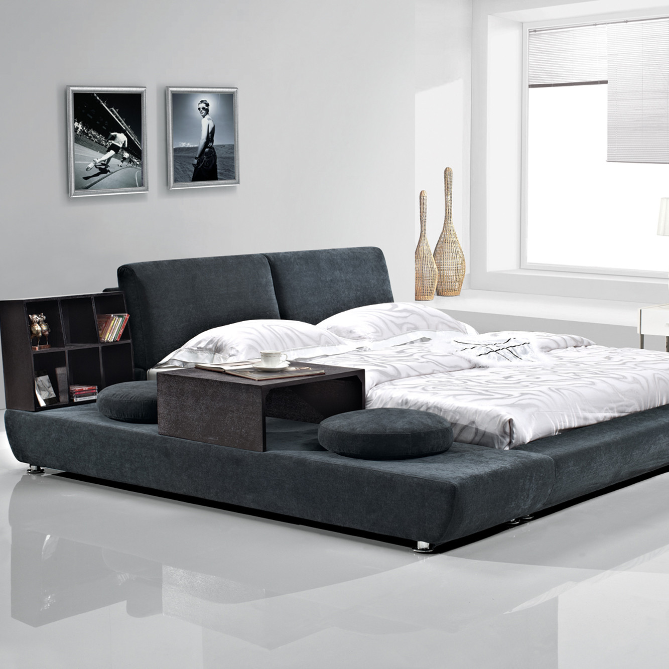 改色样色木组装式架子床绒质方形简约现代