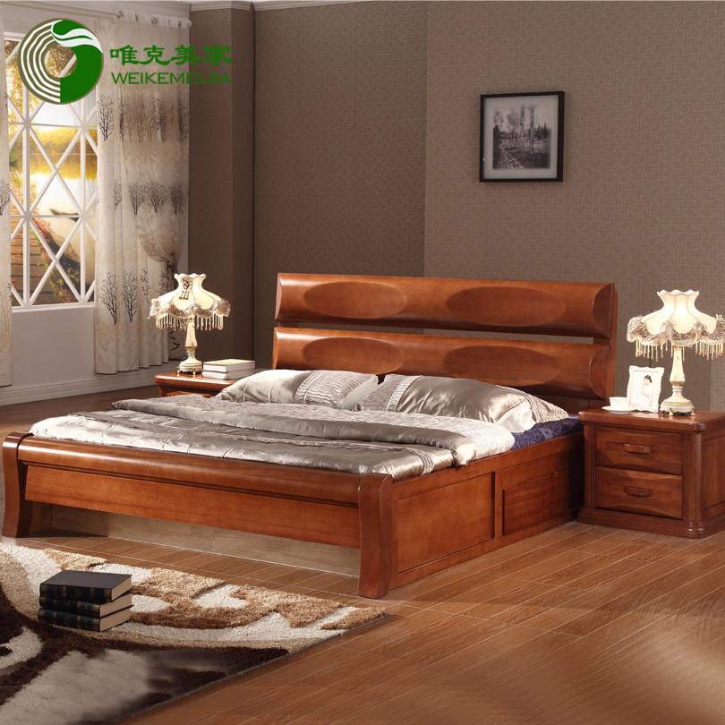 如图海棠木组装式箱体床东南亚拼板