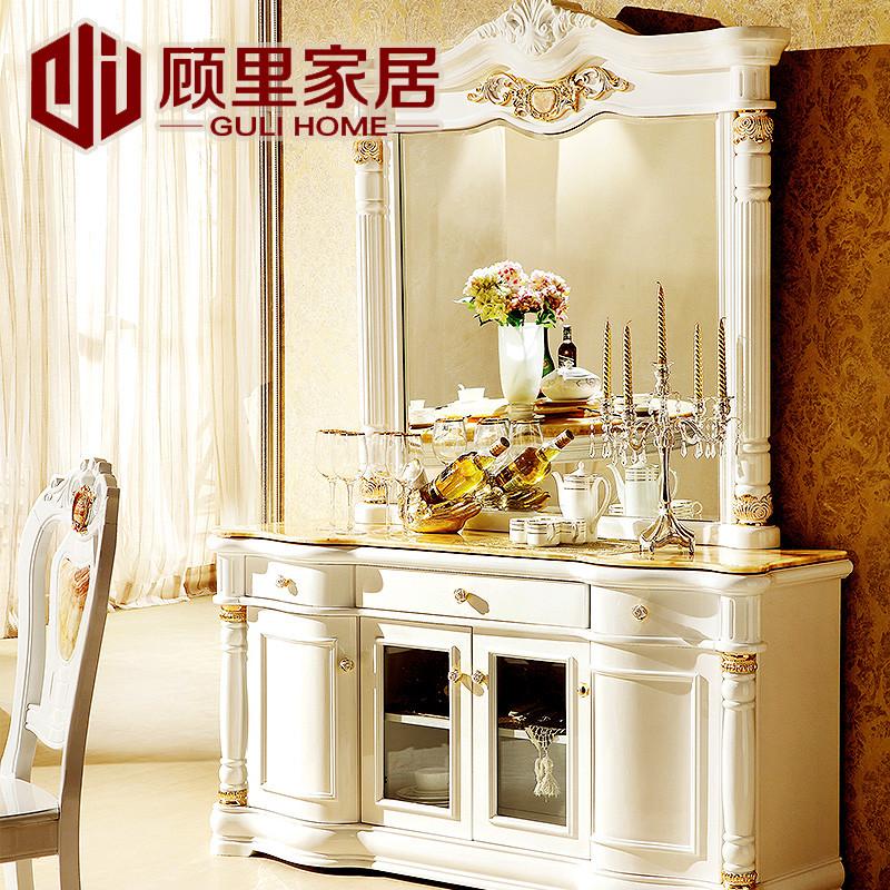 顾里家居 白色烤漆框架结构橡木移动艺术欧式 餐边柜图片