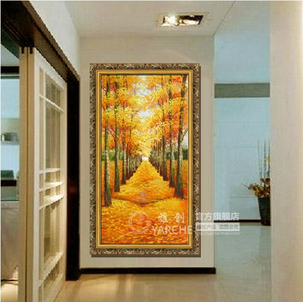 雅创 画师纯手绘立体有框装裱金色高档画框风景 油画