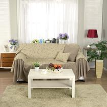 花朵+条纹下摆布植物花卉草沙发巾三人座沙发田园 沙发罩