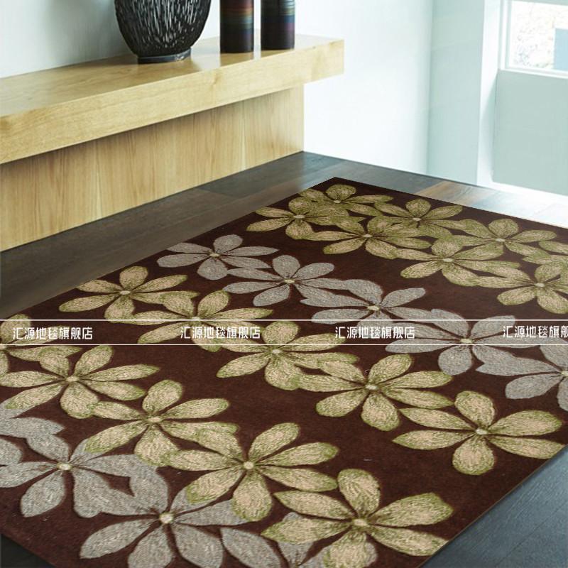 汇源地毯 巧克力色羊毛可手洗可机洗植物花卉长方形手工织造 地毯