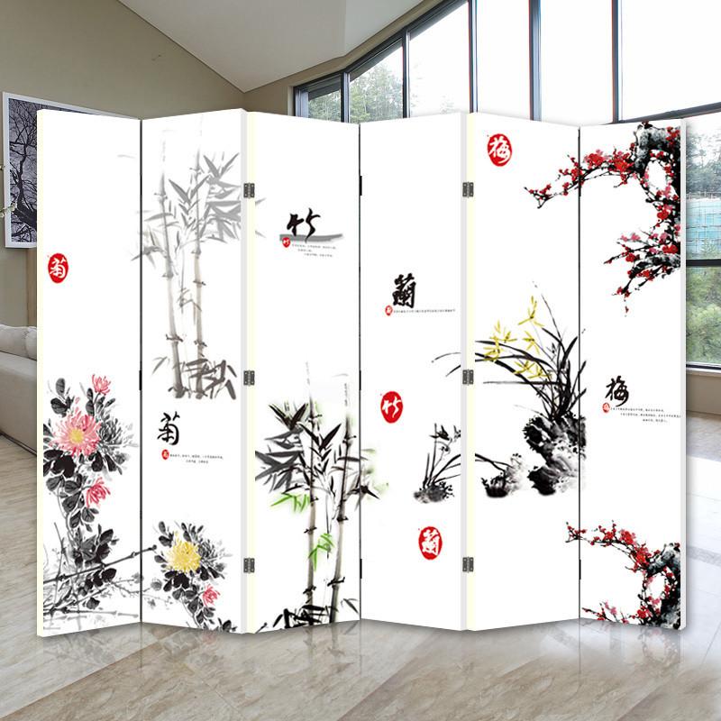 雅筑 印花杉木面料工艺木质工艺复合面料植物花卉明清古典 屏风